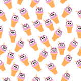 Illustration of ice cream. Very high quality original trendy vector seamless pattern with blueberries ice cream Stock Image