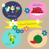 Illustration with ice creams, strawberries, coctail Mojito and watermelon Royalty Free Stock Photo