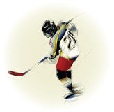 Illustration of an ice hickey player. Ink drawing vectorial illustration of an ice hickey player Royalty Free Stock Images