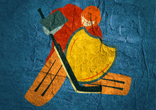 Illustration of ice hockey goalie with knight shield. Sport metaphor. Concrete textured Stock Image