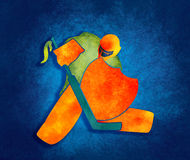 Illustration of ice hockey goalie with knight shield. Sport metaphor. Multicolor brush painting Royalty Free Stock Photo