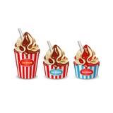 Illustration of icecream. Isolated illustration of chocolate vanilla cream icecream Stock Image