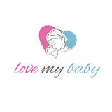 Illustration icon mother and her baby Royalty Free Stock Image