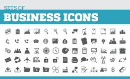 Illustration of icons for business and business metaphors. Unive. Rsal icons for business Stock Photography