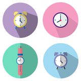 The illustration icons are clock on the wall and alarm or watch . Can be used in various media. royalty free illustration