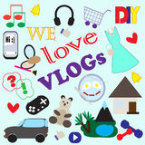 Illustration with icons of different themes of popular video blogs. And inscription We love the VLOGs. There are such subjects as fashion, beauty, sports and Royalty Free Stock Image