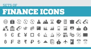 Illustration of icons for finance and finance metaphors. Univers. Al icons for finance Royalty Free Stock Images