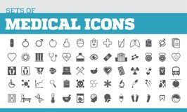 Illustration of icons for medical and medical metaphors. Univers. Al icons for medical Stock Image