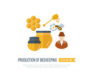 Illustration with icons of  products beekeeping Royalty Free Stock Photography