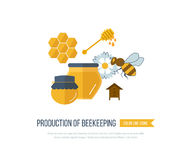 Illustration with icons of  products beekeeping Stock Images