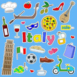 Illustration with Icons set of patches on the journey to the country of Italy, simple color icons on blue background Stock Photos