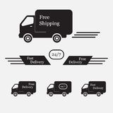 Illustration of icons shipments and free delivery, Stock Photo