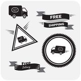 Illustration of icons shipments and free delivery, Royalty Free Stock Photo