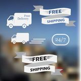 Illustration of icons shipments and free delivery Stock Photography
