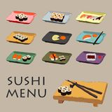 Illustration of icons various pieces of Sushi Royalty Free Stock Photography