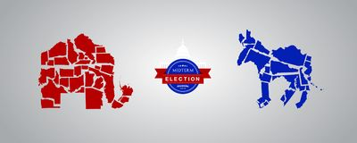 Illustration idea for Midterm Elections - Republican states versus Democrat states. stock images