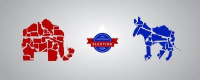 Illustration idea for Midterm Elections - Republican states versus Democrat states. Illustration of Republican states in a form of a elephant and Democrat stock illustration