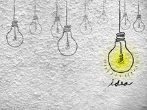 Illustration for Idea at White Cement Wall Royalty Free Stock Image
