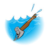 Illustration idiom an axe in water. Stock Images