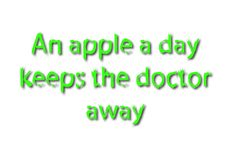 Illustration idiom write an apple a day keeps the doctor away is. Olated in a white background composition vector illustration