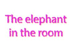 Illustration idiom write the elephant in the room isolated in a. White background composition royalty free stock photo