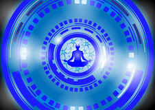 Illustration - Illustration of human energy body, aura, chakra in meditation Royalty Free Stock Photo