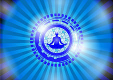 Illustration - Illustration of human energy body, aura, chakra in meditation Stock Photo
