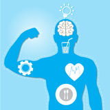 Illustration -  illustration of muscle man and health icons. Illustration of muscle man and health icons Royalty Free Stock Image