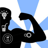 Illustration -  illustration of muscle man and health icons Stock Photos