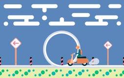 Illustration im flachen Design Schicken Sie auf Roller durch die Schleife nach Stockfoto