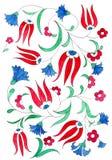 Illustration im Stil der traditionellen Osmanemuster Aquarelltulpe und -gartennelke auf weißem Hintergrund stock abbildung