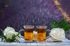 Illustration im Vektor Tee von den Rosen Zwei Tassen Tee und Rosen auf dem BAC Lizenzfreie Stockfotografie