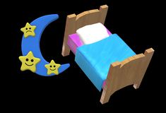An illustration image of a bed and a blue moon with star faces royalty free stock photography