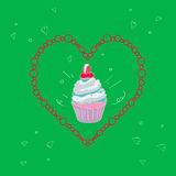 Illustration with the image of a cake in a frame in the shape of a heart on a bright green background. Vector Royalty Free Stock Photography