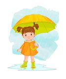 Illustration with the image of cartoon little girl with an umbrella royalty free illustration