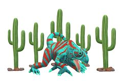 An illustration image of a chameleon against a white backdrop of cactus royalty free stock photos