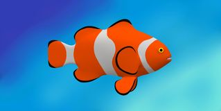 An illustration image of a clownfish in the deep blue sea royalty free stock photos