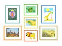 Illustration with the image of colored childrens drawings of animals in frames, hung on the wall. Illustration with the image of colored childrens drawings of vector illustration