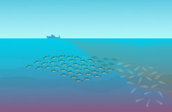 Illustration with the image of dying shoal of fishes that was in the water contaminated the ship sailed.