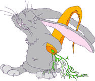 Illustration with the image of a gray rabbit hiding behind his back  large carrot. character. Vector Royalty Free Stock Images