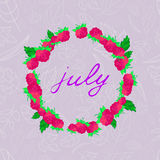 Illustration with the image of july lettering in the frame of raspberries against the background Stock Photos