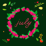 Illustration with the image of july lettering in the frame of raspberries Royalty Free Stock Photography