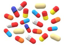 An illustration image of many colorful capsule pills stock photography