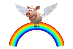 An illustration image of a pig flying over a rainbow royalty free stock photography