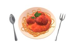 An illustration image of a plate of pasta with meatballs and a spoon and funny fork stock image