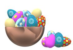 An illustration image of some colorful easter eggs stock photos