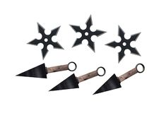An illustration image of some ninja Kunai and shuriken throwing stars stock images