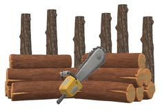 An illustration image of some tree logs and a chainsaw stock photography