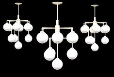 An illustration image of three sets of ceiling lights royalty free stock images