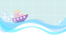 Illustration with the image of a toy boat floating in the water among the soap suds. Royalty Free Stock Photo